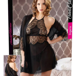 Cottelli - lace neglige set - black (3 pieces)
