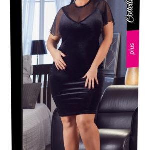 Cottelli Plus Size Short Sleeve Velvet Mini Dress (Black)