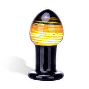 GLASTOY Galileo Butt Plug - klasické skleněné anální dildo (černo-zlaté)
