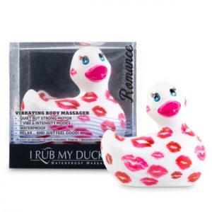 My Duckie Romance 2.0 - vodotěsný vibrátor na klitoris - kačenka se srdíčky (bílo-růžová)