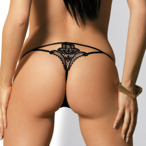 Obsessive Luiza - tanga s výšivkou (černé)