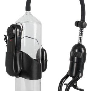 Mister Boner Vibrating - vibrační pumpa na penis (průhledná-černá)