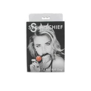 S&M - silikonová kulička do úst s koženkovým ramínkem (červená-černá)
