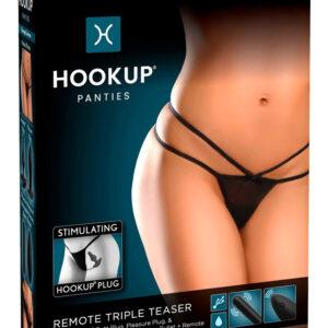HOOKUP Triple Teaser - cordless vibrating panty set (black)
